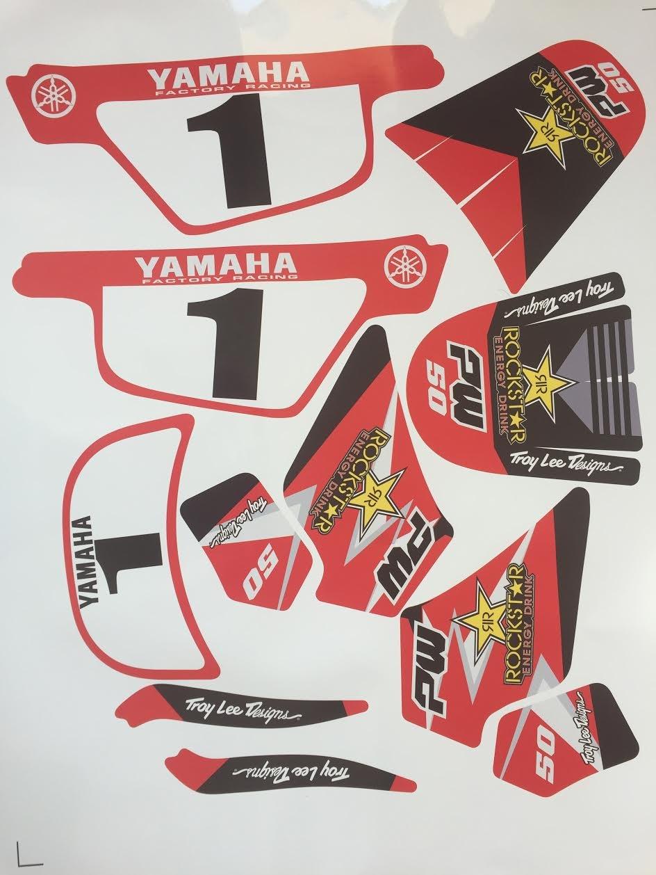 Offert 2 Stickers MXSPIRIT Autocollant Kit d/éco Rockstar pour Yamaha PW 50 Rouge 50PW Piwi Qualit/é Standard