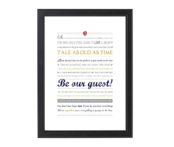 Beauty And The Beast Quotes Print Unframed A4 Or 8x10 Amazonco