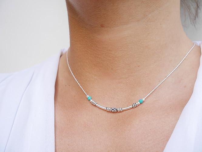 d089b6ac22b Collier ras du cou argent - chaine serpent argent 925 - perles pierres  turquoise - choker