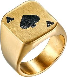 Flongo Anello di Fidanzamento da Uomo Donna, Asso di Picche Grande Anello di Poker, Anello Vintage retrò in Acciaio Inossidabile, Oro Nero