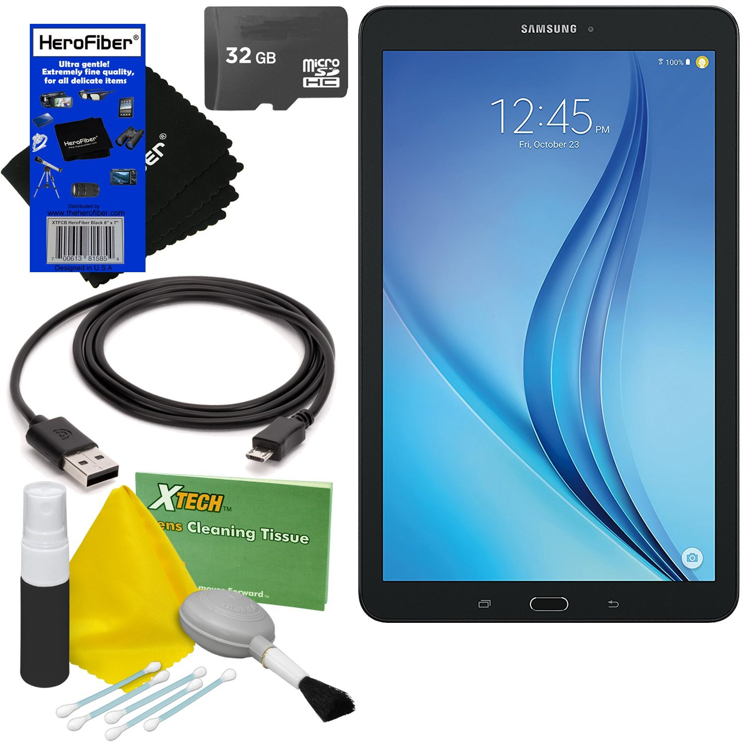 Samsung Galaxy Tab E 9.6'' 16GB Wi-Fi Tablet (Black) SM-T560NZKUXAR + 32GB MicroSD High Capacity Memory Card + USB Cable + 5pc Deluxe Cleaning Kit + HeroFiber Ultra Gentle Cleaning Cloth