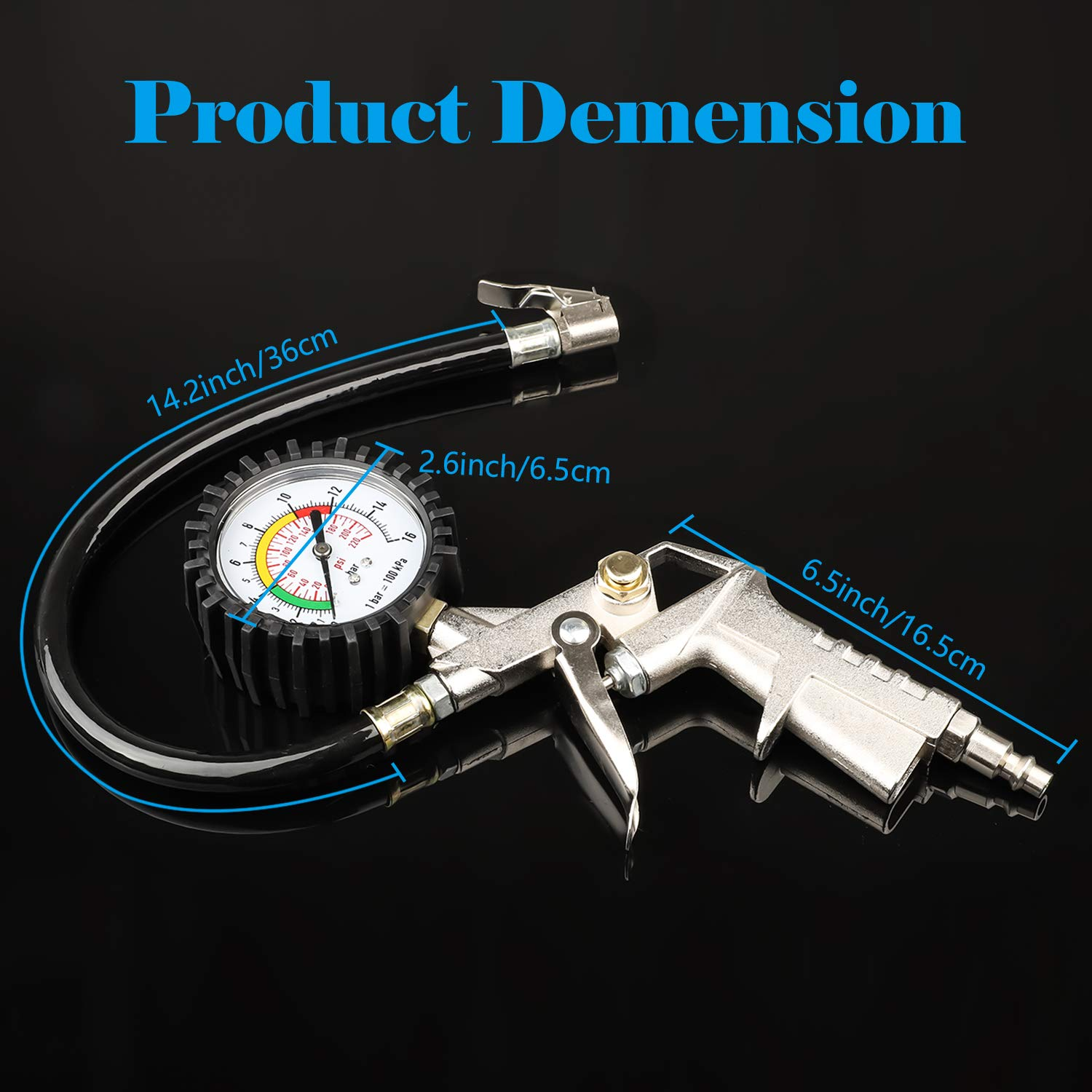 Tire Inflator with Pressure Gauge,Linkstyle 220 PSI Tire Pressure Inflator Gauge with Air Hose Plug Air Chuck with Accurate Gauge for Air Compressors and Inflators