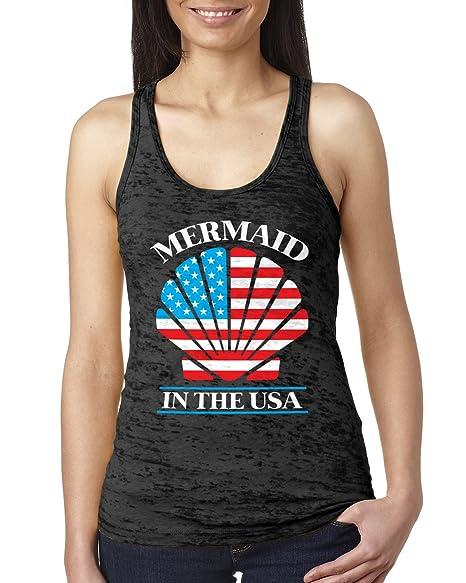 7fc1ad901b3908 Amazon.com  Retta Mermaid in The USA Ladies Burnout Tank Top  Clothing