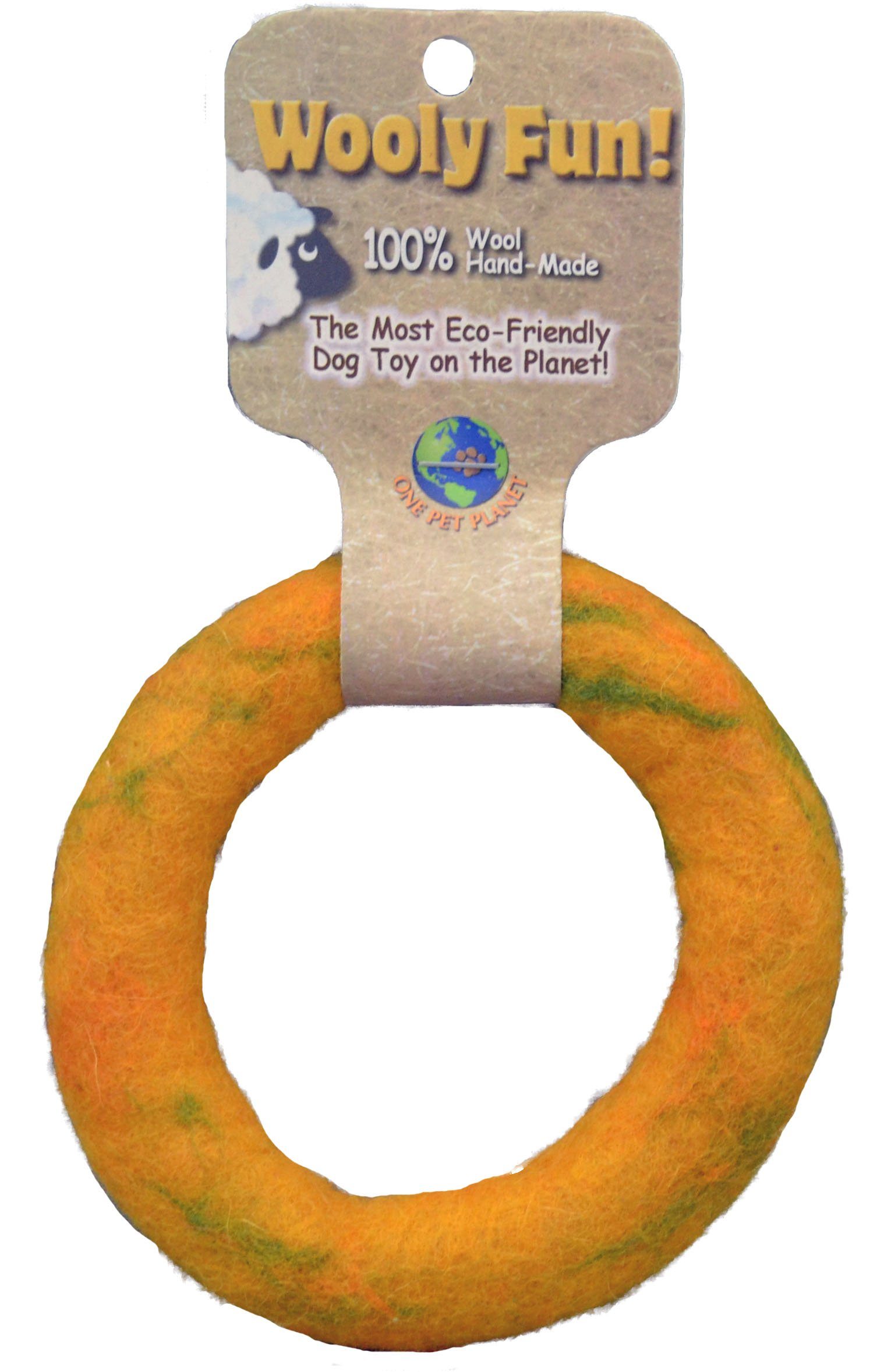 One Pet Planet Wool Dog Toy, 5-Inch, Yellow