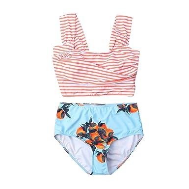 Amazon.com: lookwoild para mujer rayas traje de baño cintura ...