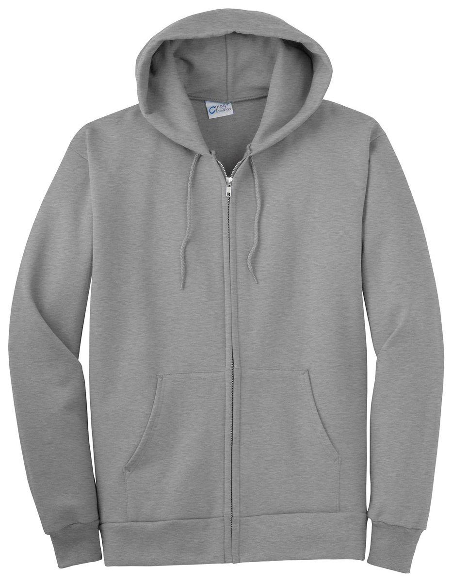 Port & Company Men's Big And Tall Full-Zip Hooded Sweatshirt Ath Heather