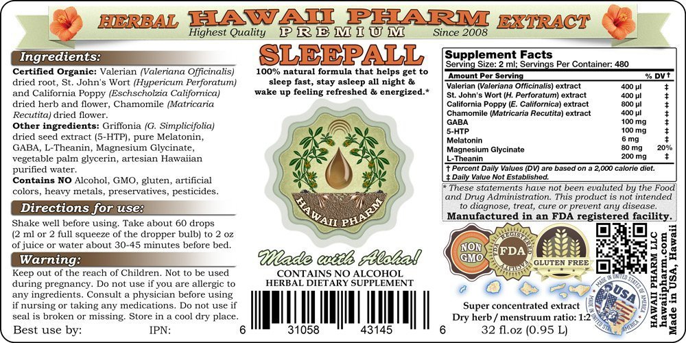 SLEEPALL - NON-ALCOHOL HawaiiPharm's Fast Acting Liquid Sleep Aid Natural Premium Herbal Extract Sleep Support much more powerful than a capsules or tablets 2x32 oz by HawaiiPharm (Image #2)