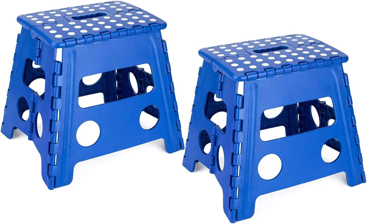 Acko Folding Step Stool - 13 inch Height Premium Heavy Duty Foldable Stool for Kids & Adults, Kitchen Garden Bathroom Stepping Stool (Blue-2 Packs)