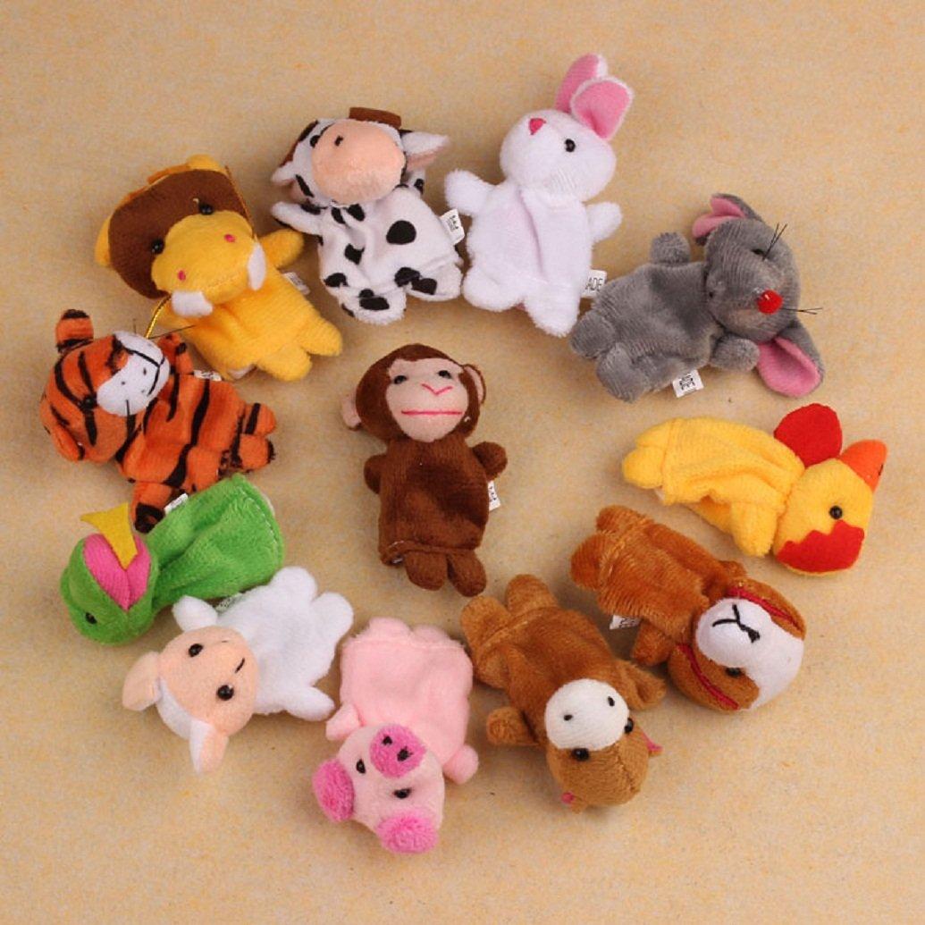 Finger Puppets,Putars 12 Pcs Multi-function Chinese Zodiac Soft Animal Puppet Finger Toys Plush Toys Education Toy Set,Christmas Gift for Kids