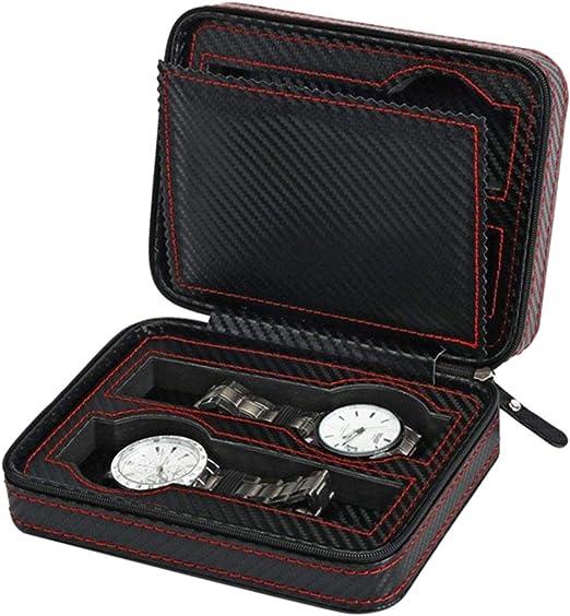 DULALA Cajas de Reloj Pantalla Caja de Cremallera Almacenamiento de Pantalla Caja de Soporte de Viaje portátil 4 Ranuras Caja de Reloj de Fibra de Carbono Bolsa Organizador de Cuero portátil: Amazon.es: