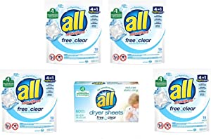 All Free and Clear Laundry Bundle Includes Pods, Dryer Sheets and Mesh Laundry Bag (76 Loads)