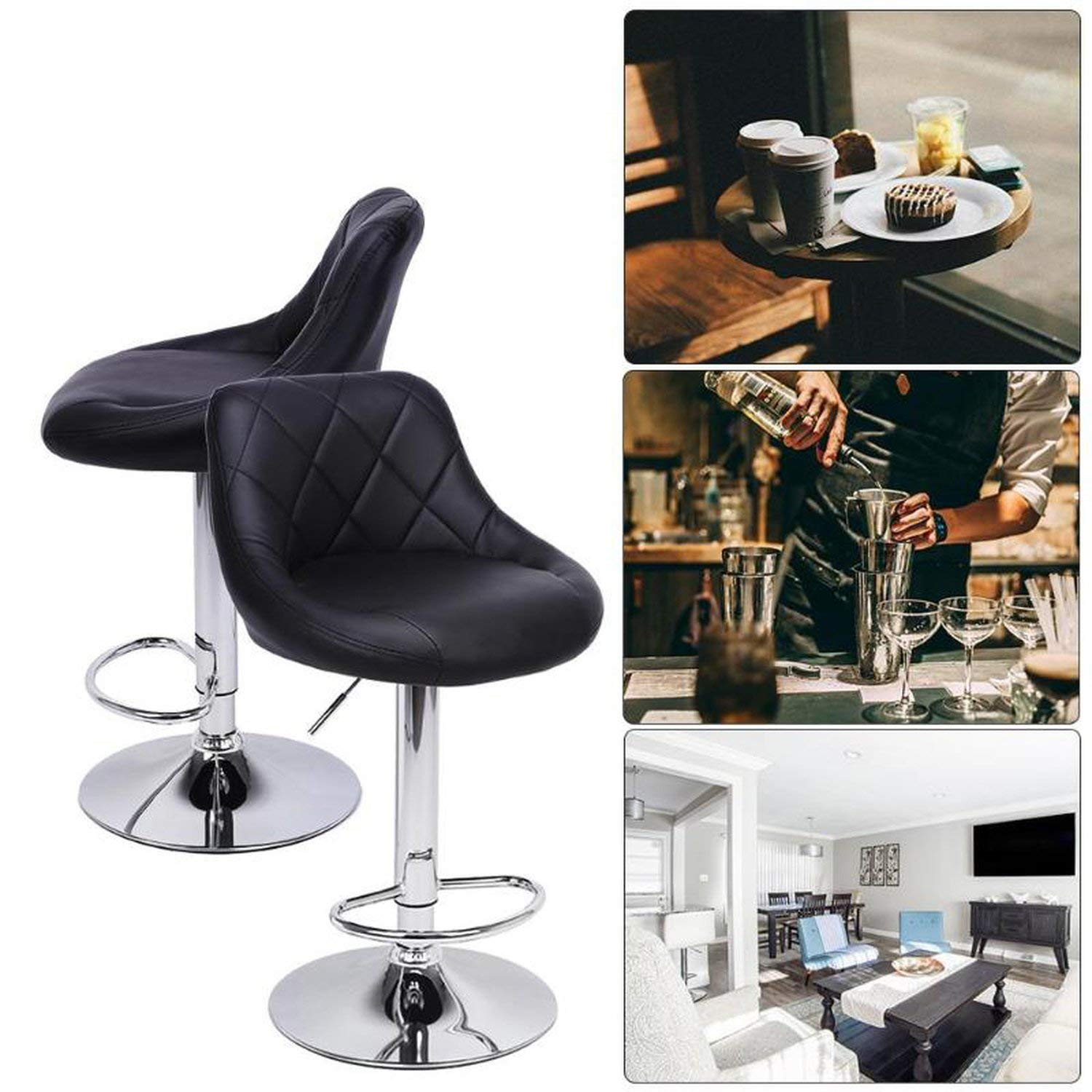 2pcs Modern Adjustable Backrest Bar Chairs 360 Degree Rotation Seat Stool Restaurants Living Room Office Cafe Furniture Kit Furniture