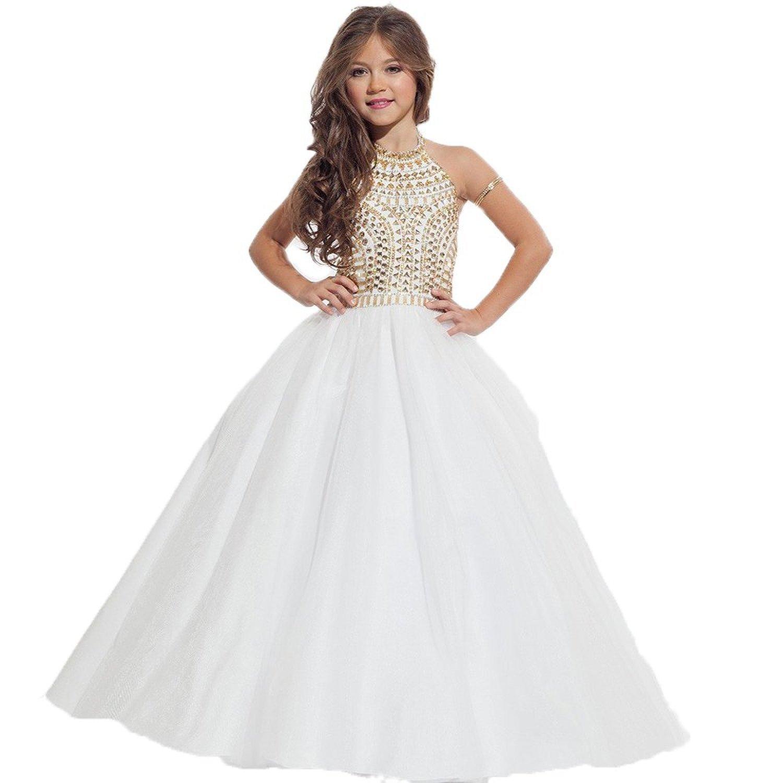 7571211c810d VIPbridal White Halter Flower Girl Dresses 2016 Beautiful Gold ...