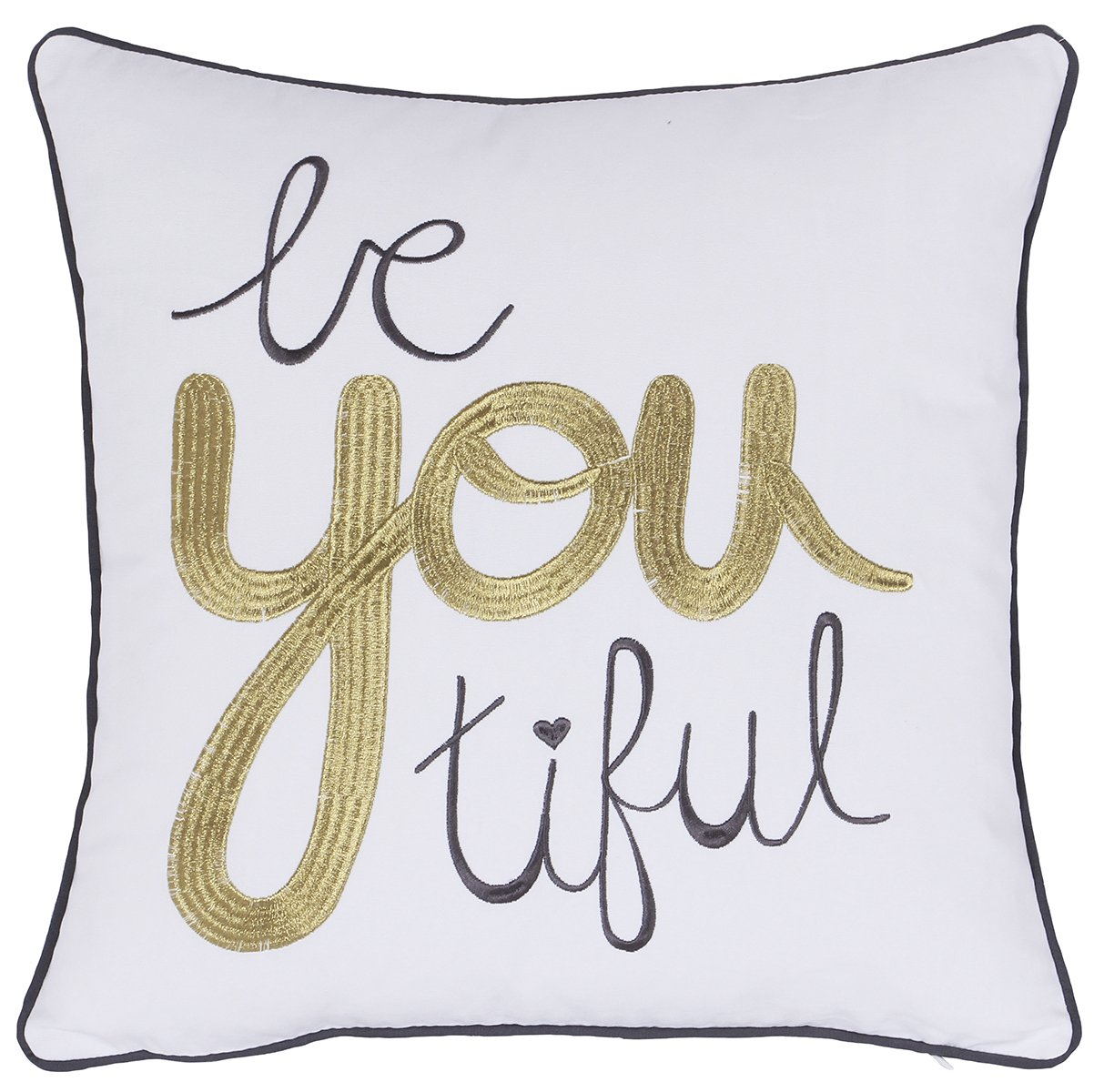 ADecor Pillow Cover Bautiful Girl Pillowcase Embroidered Pillow cover Decorative Pillow Standard Cushion Cover Gift Love Couple Teen Inspiration quote pillow P327 (18X18, Beautiful(Ivory))