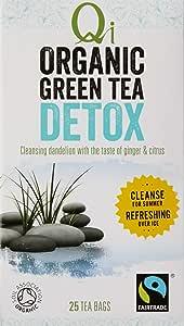 Qi Tea Organic Detox Green Tea Teabags, 25 Count