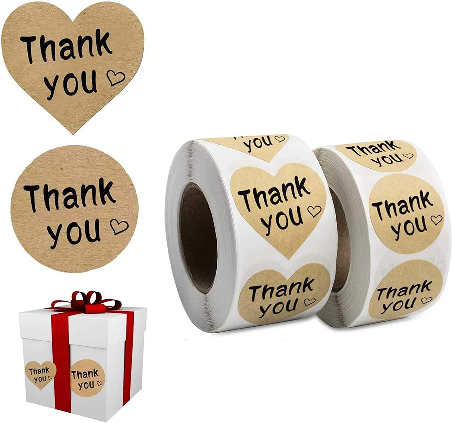 1000 Pack, Thank You Stickers Kraft Paper -2 Designs- Heart Love Shape Round Adhesive Decorative Sealing Stickers