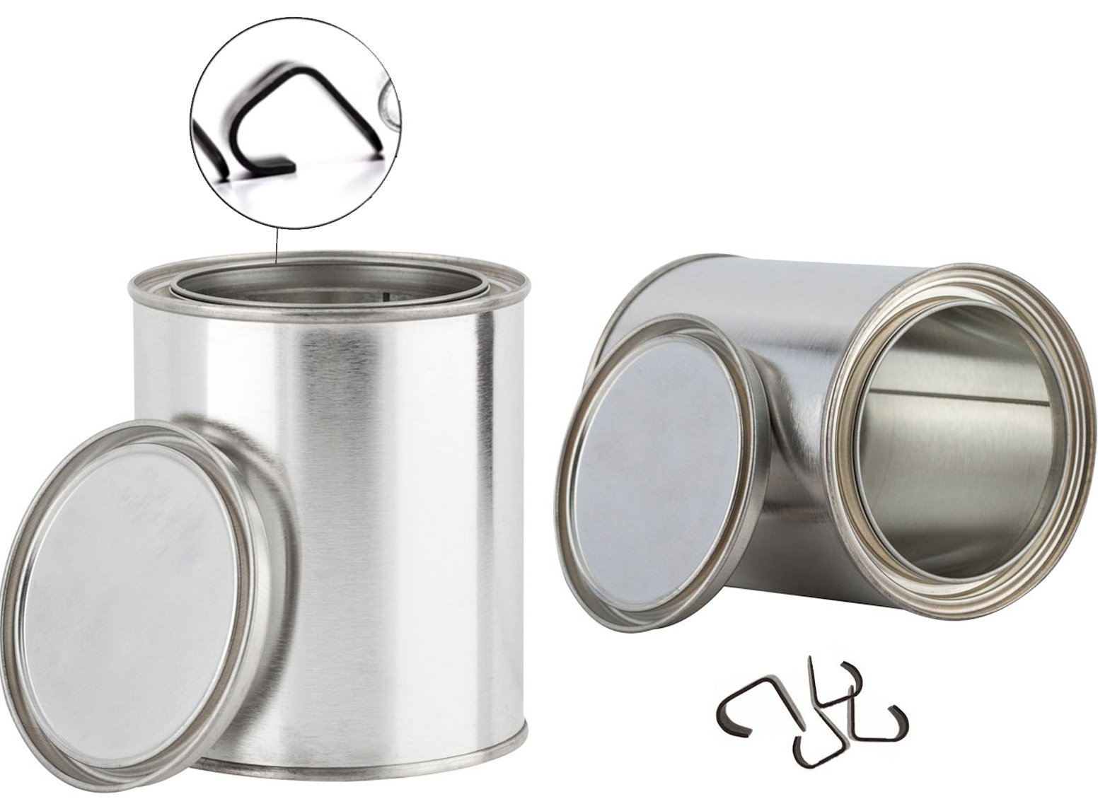 Sized Quart Paint Can Clips with Lids (2 Pack) Empty Metal Storage Empty Cans with Securing Tops Container Set Unlined (Quart)