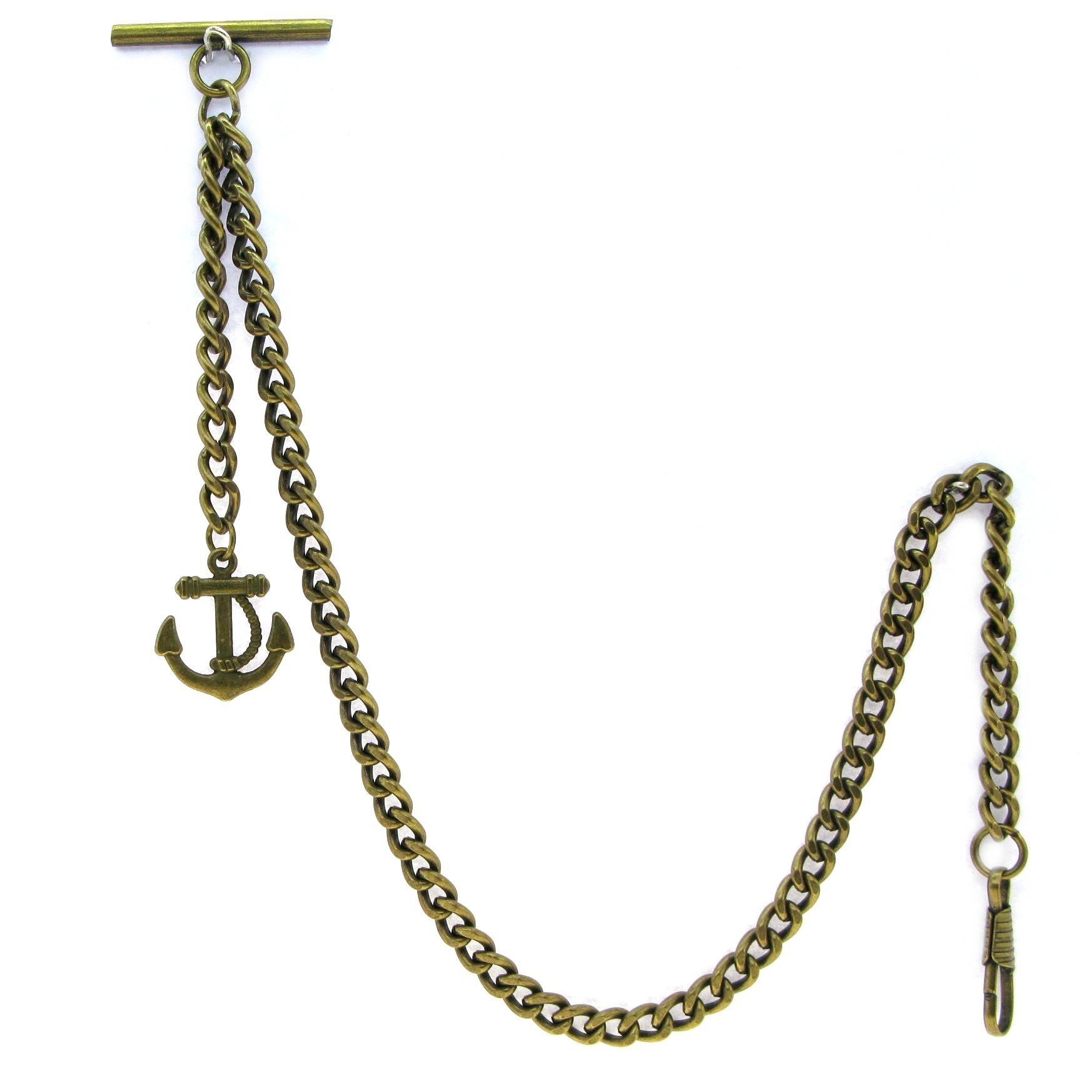 Albert Chain Pocket Watch Curb Link Chain Antique Brass Plating Anchor Fob T Bar AC24