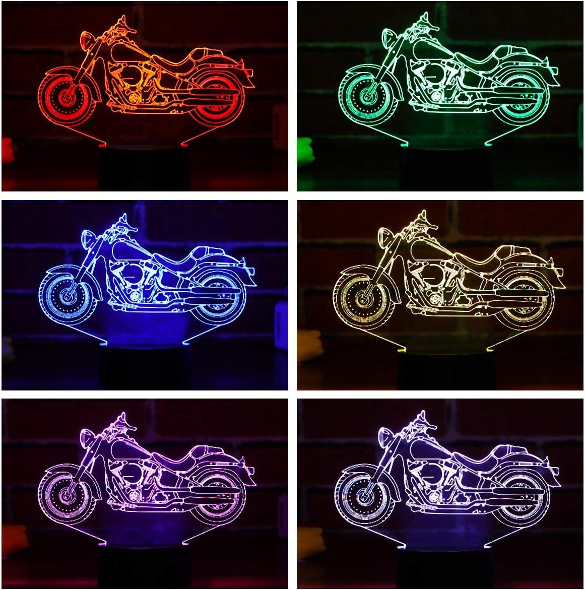 LEDMOMO Moto Lampe Veilleuse 3D 3D Illusion Visual Effect Veilleuse avec 7/Couleurs modifications Switch Tactile Veilleuse D/écoration Cadeau