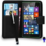 Microsoft Lumia 535 Premium Leather Black Wallet Flip Case Cover Pouch + Big Touch Stylus Pen + BLUE 2 IN 1 Dust Stopper + Screen Protector & Polishing Cloth BY SHUKAN®, (WALLET BLACK)