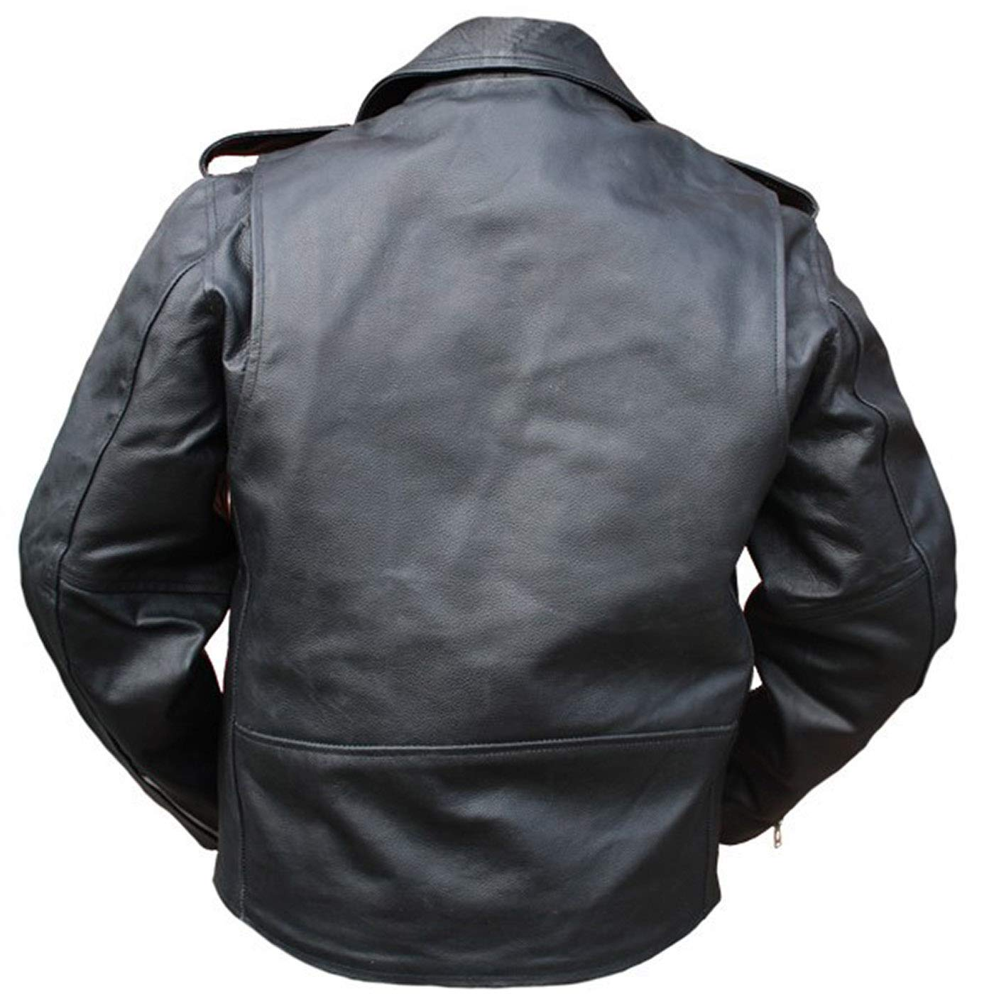 German Wear piel moto chaqueta con cordón lateral, color negro: Amazon.es: Coche y moto