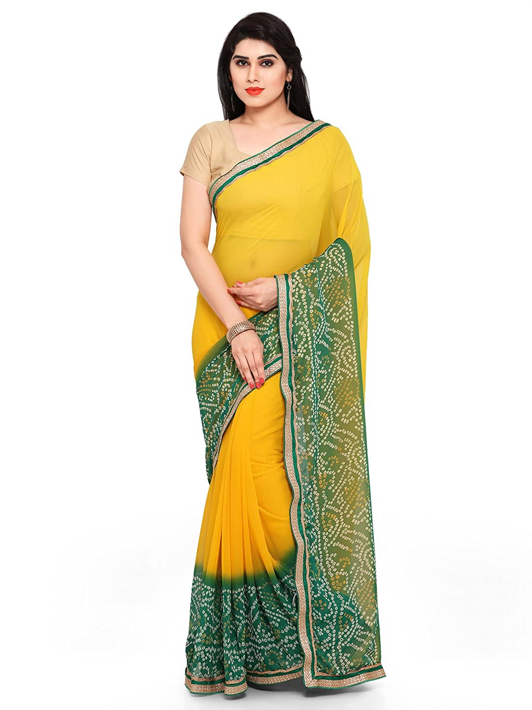 Womanista Women's Printed Faux Georgette Saree with Blouse Piece
