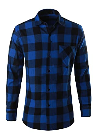 Ebind Mens Long Sleeve Casual Button Down Plaid Flannel Shirt at ...