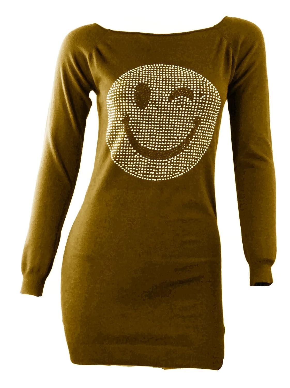 #1110 Damen Strick Pulli Longpullover Pullover Zwinker Smiley Silber Nieten One Size 34-36-38