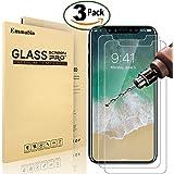 [3 Pièces] Verre Trempé iPhone X ( iPhone 10 ), Emmabin Film Protection en Verre trempé écran Protecteur Vitre - Ultra Résistant Dureté 9H pour iPhone X ( iPhone 10 ) - Compatible 3D Touch