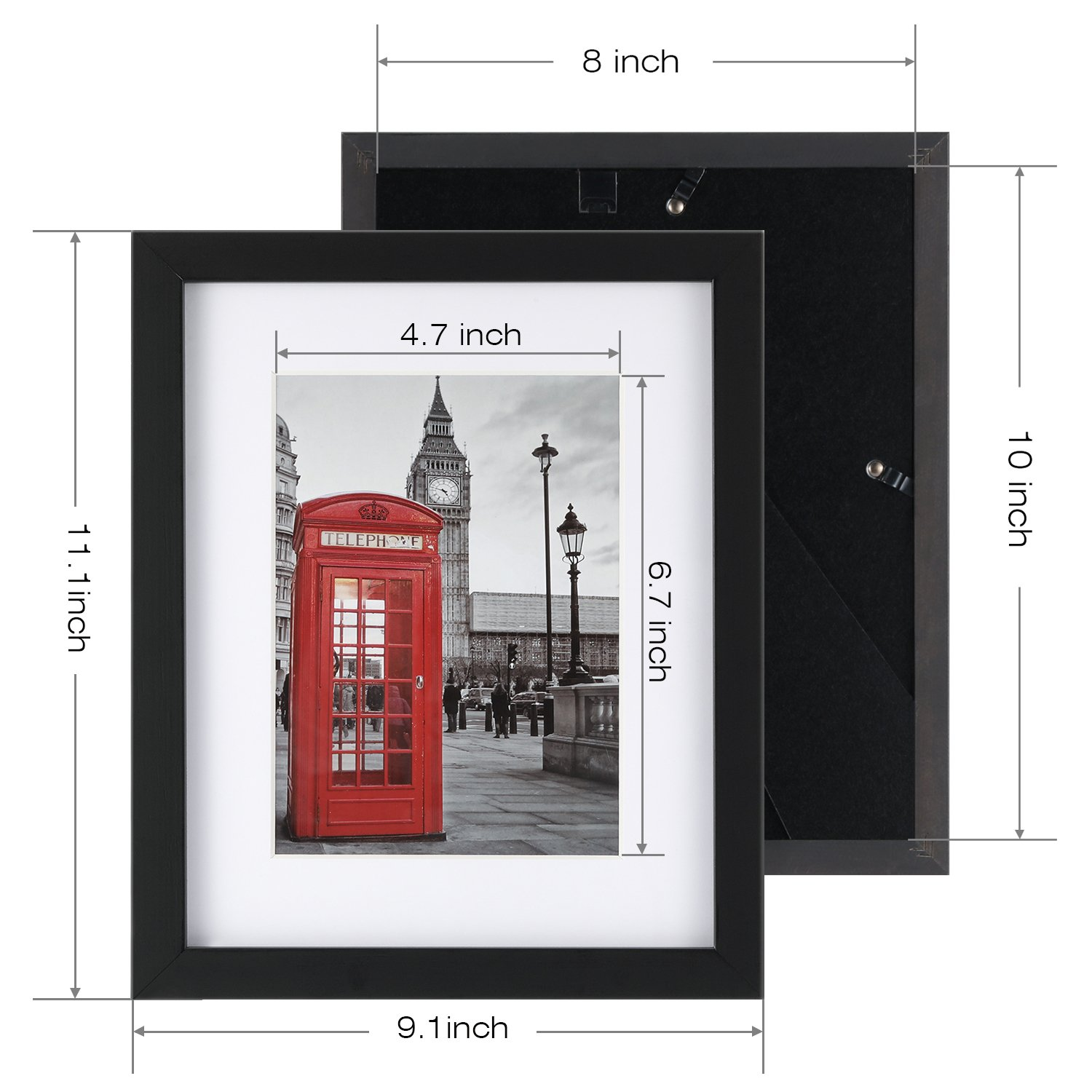 8x10 Picture Frame 1 Pack Tempering Glass with 2 Mats for 5x7 or 4x6 Documents, Wall Mounting Material Included (Black Frame)