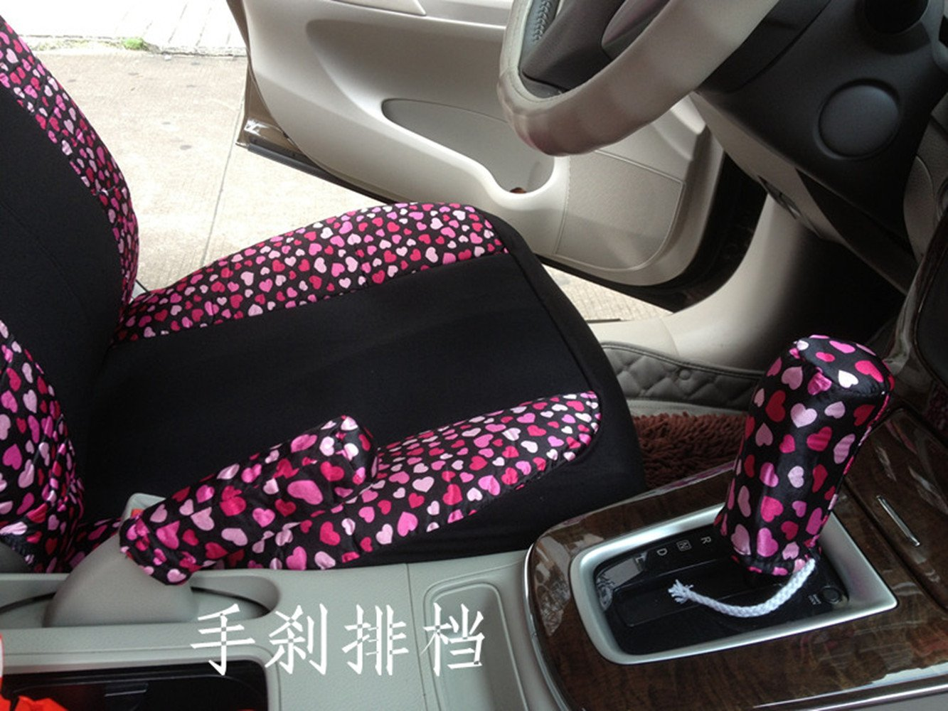 Black/Peach Bow Front Rear Car Seat Cushion Cover Black&Gold 18pcs Full Set Needlework by GH8 (Image #3)