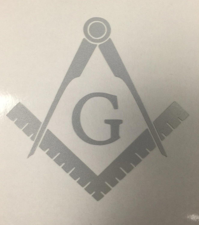 3 X 3 Reflective White Masonic Series Freemason Compass Square Decal Sticker Vinyl Decal CMI CMI122