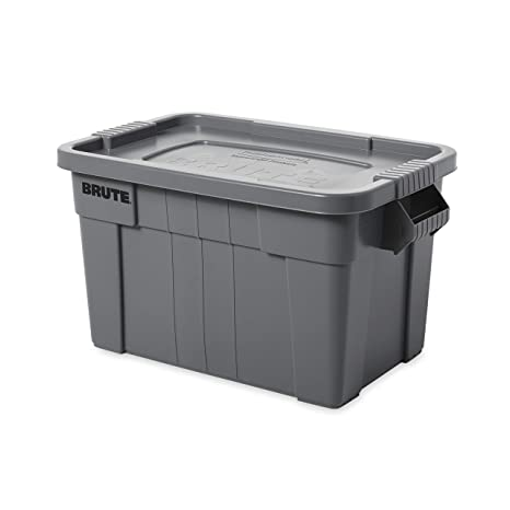 Amazon Com Rubbermaid Commercial Products Brute Tote Storage Container With Lid 20 Gallon Gray Fg9s3100gray