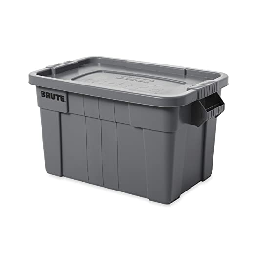 Rubbermaid Commercial Brute Tote Storage Bin With Lid 14 Gallon Gray Fg9s3000gray Lidded Home Storage Bins Amazon Com
