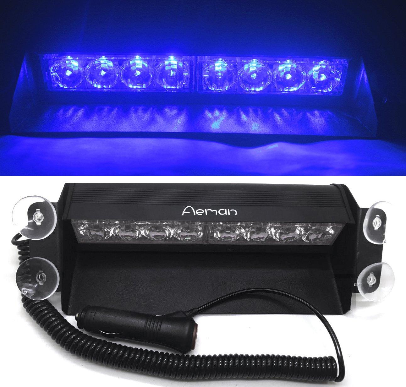 Aeman 12V 8 LED Advertencia Precaució n de emergencia Lá mpara de luces estroboscó picas para coche camió n el techo Interior Dash parabrisas con 4 ventosas - Azul