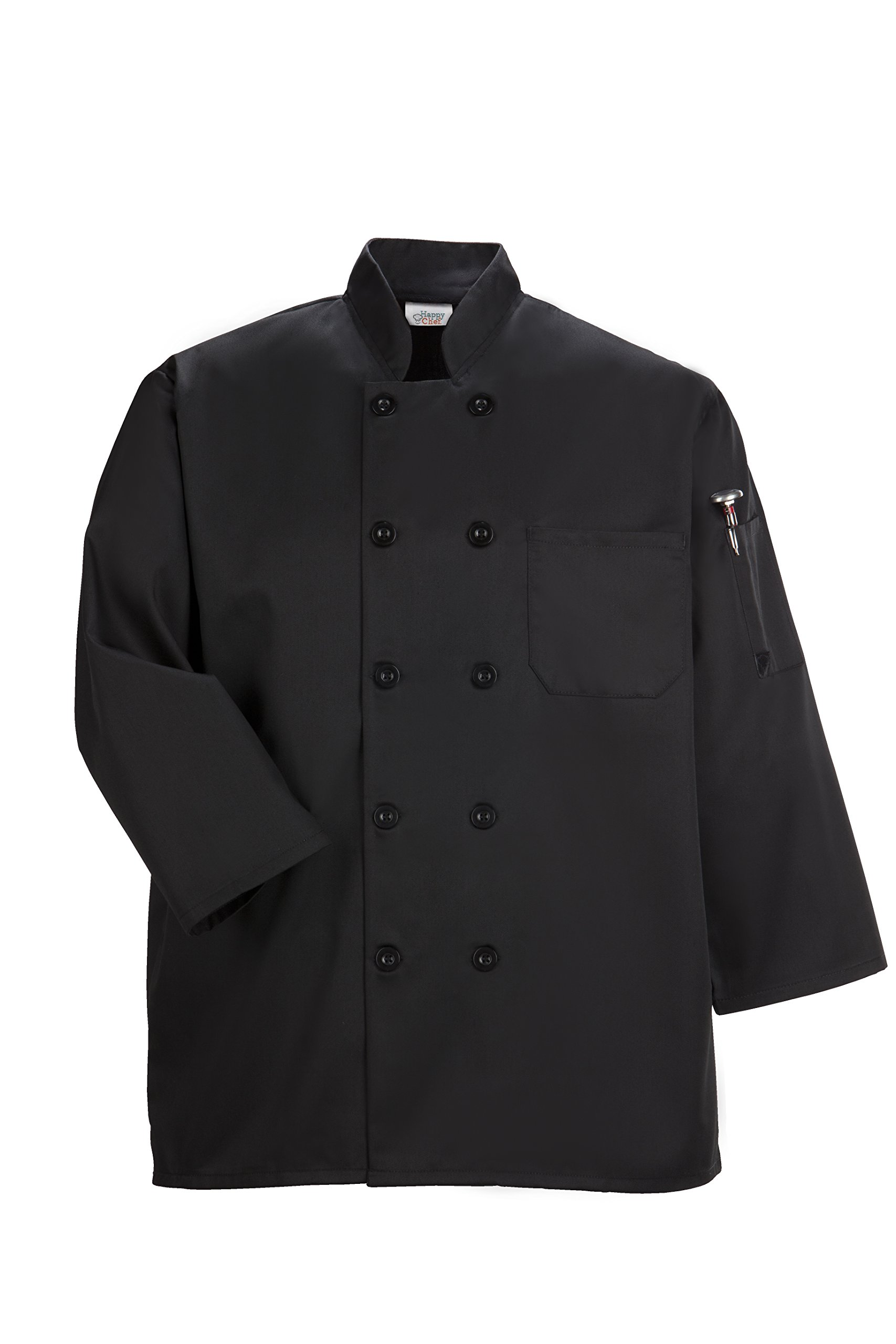 Happy Chef Traditional 3/4 Sleeve Chef Coat (Black, Large)