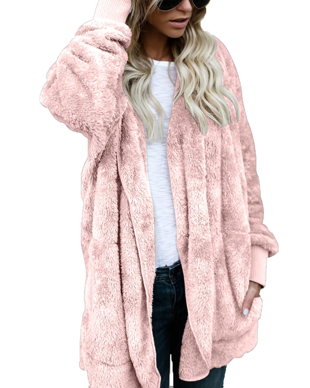 FOUNDO Women's Winter Fleece Cardigan Open Front Hooded Sherpa Plush Jacket Coat Pink M