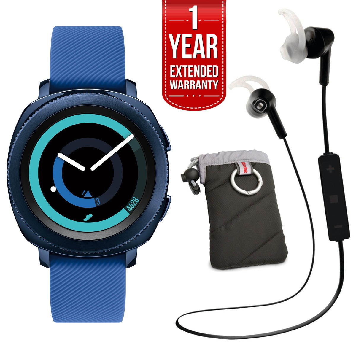Samsung Gear Sport Activity Tracker (Blue) with Heart Rate Monitor, Kodak Case, Pro Bluetooth Earbuds, and 1 Year Extended Warranty Bundle