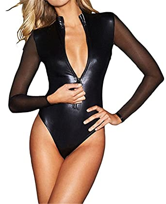 Catwoman Faux Femme Catsuit Wetlook Wonder Pretty Cuir Latex EH29YWDI