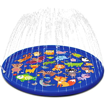 FUN LITTLE TOYS Inflatable Sprinkler for Kids, 66'' Splash Pad for Summer Outdoor, Swimming Pool, Baby Water Toys 2-12 Year Old Boys & Girls: Toys & Games