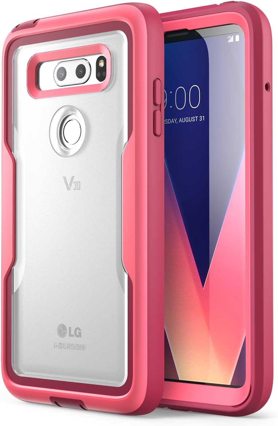 i-Blason Magma Series Case Designed for LG V30/V30 Plus/V30S (2017)/V35/V35 ThinQ 2017 Release, Heavy Duty Protection Shock Reduction Full Body Bumper Case with Built-in Screen Protector (Pink)