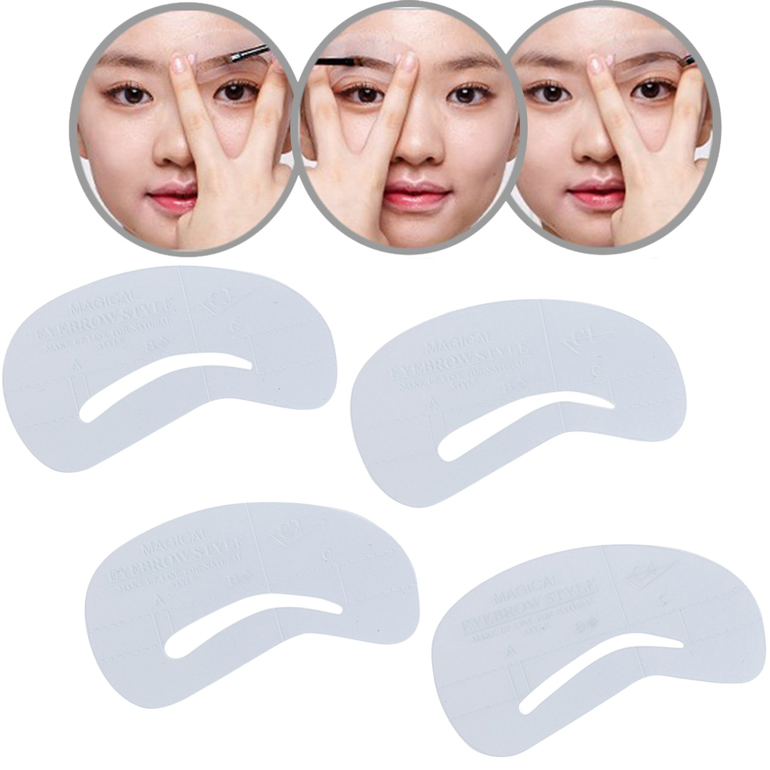 Premium Professional Beauty Make Up Set Kit of 4 Clear C1-C4 Eyebrows Grooming Shaping Stencils / Cards / Shapers / Templates By VAGA