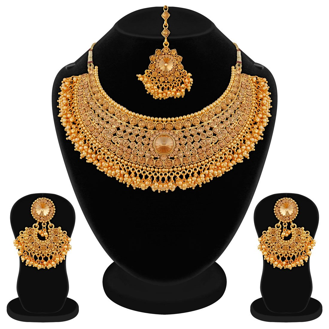 Apara Bridal Gold Plated Pearl LCT Stones Necklace Set