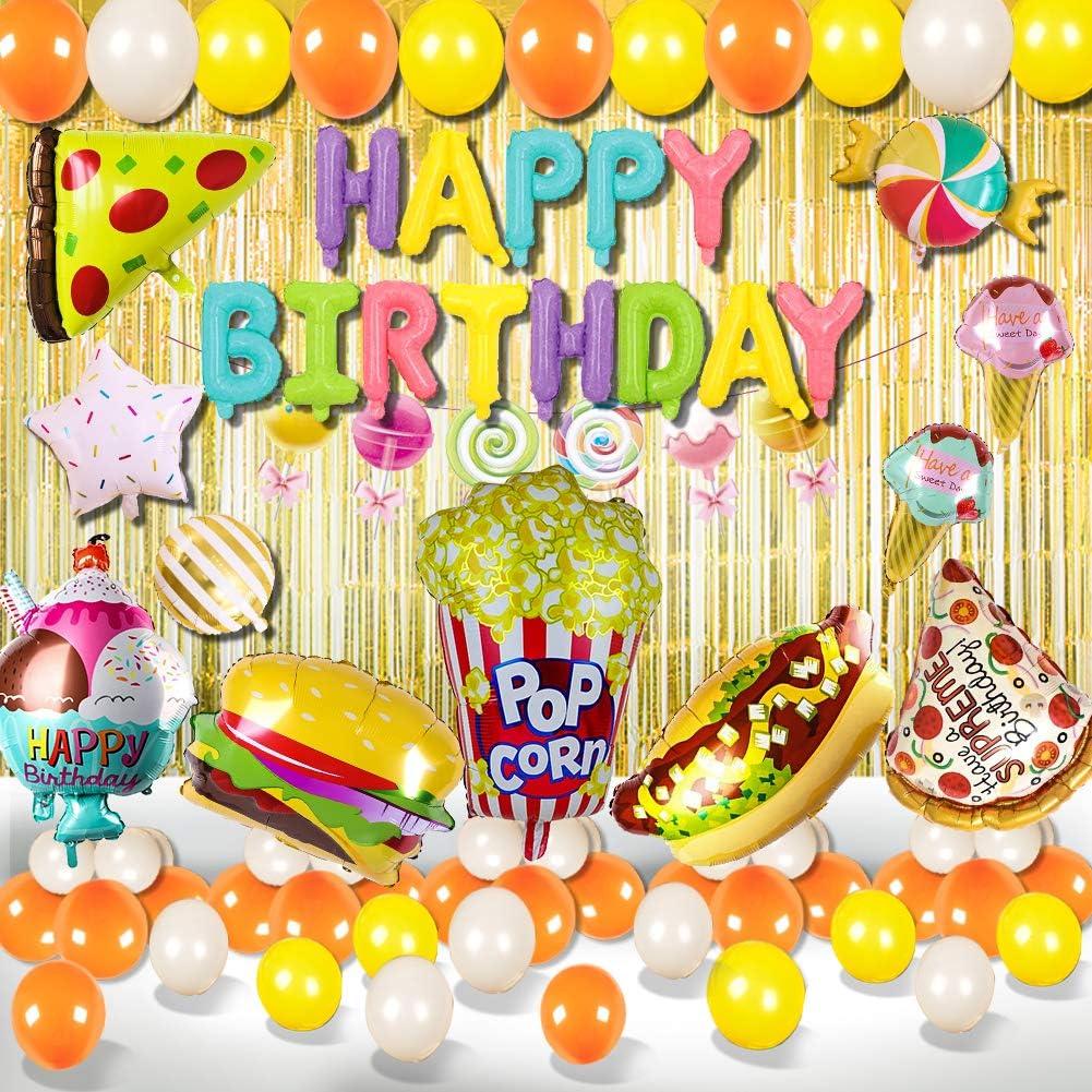 Food Theme Birthday Decorations Cartoon Hamburg ice Cream Popcorn Pizza Balloons Birthday Party Supplies for Kids