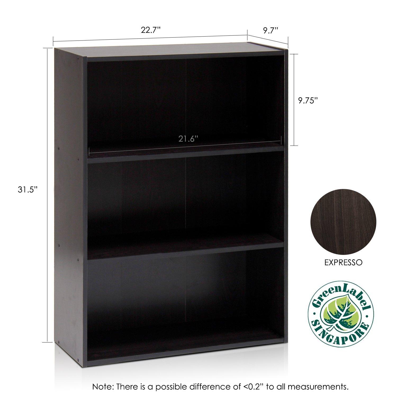 Espresso Furinno 11208EX Pasir 3-Tier Open Shelf