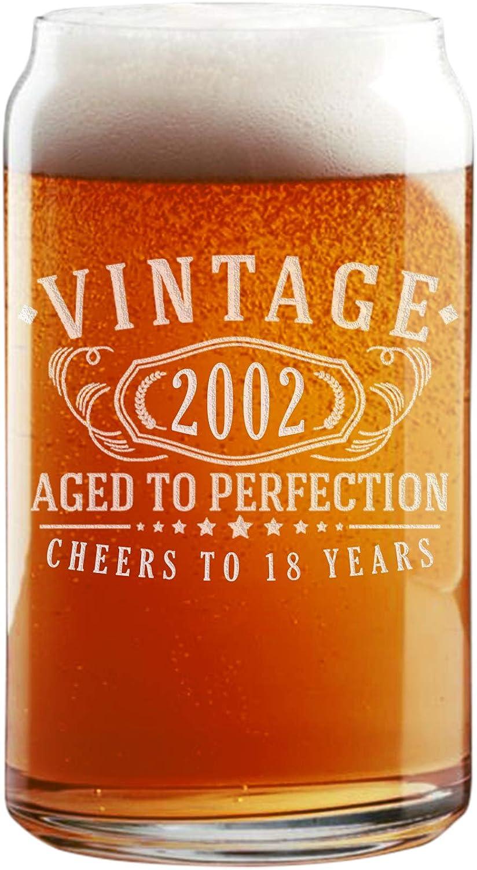 Vaso de cerveza vintage de 2002, grabado de 16oz – 18 cumpleaños envejecido a la perfección – Regalos de 18 años de edad