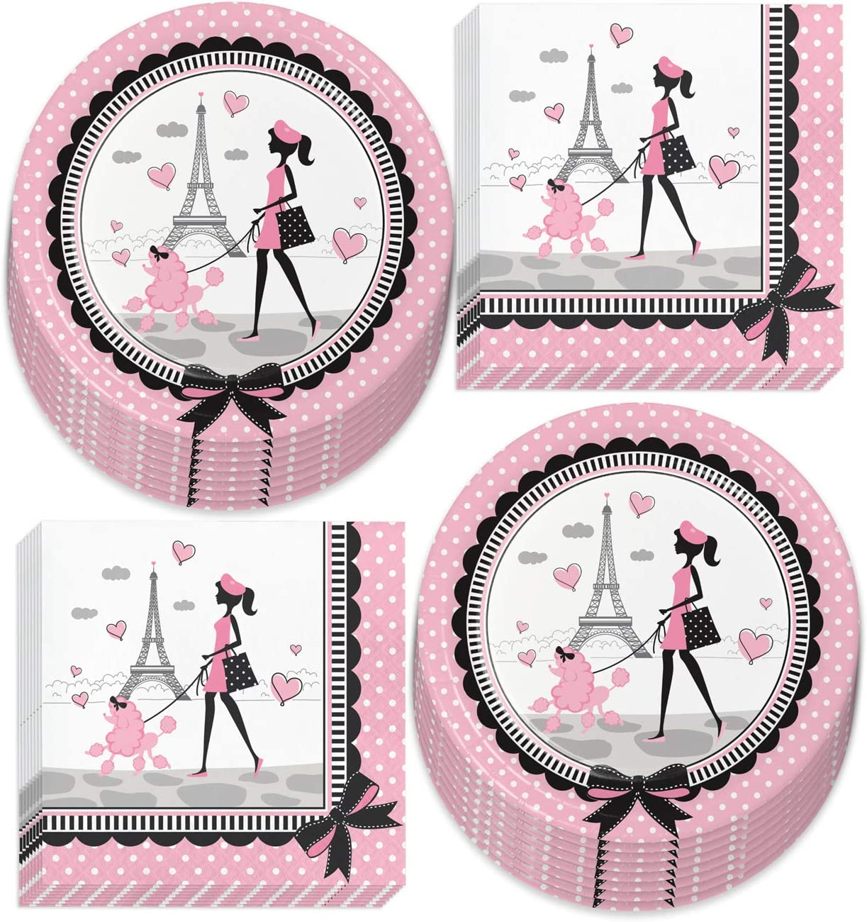 Paris Party Supplies - French Theme Paper Dinner Plates and Luncheon Napkins (Serves 16)