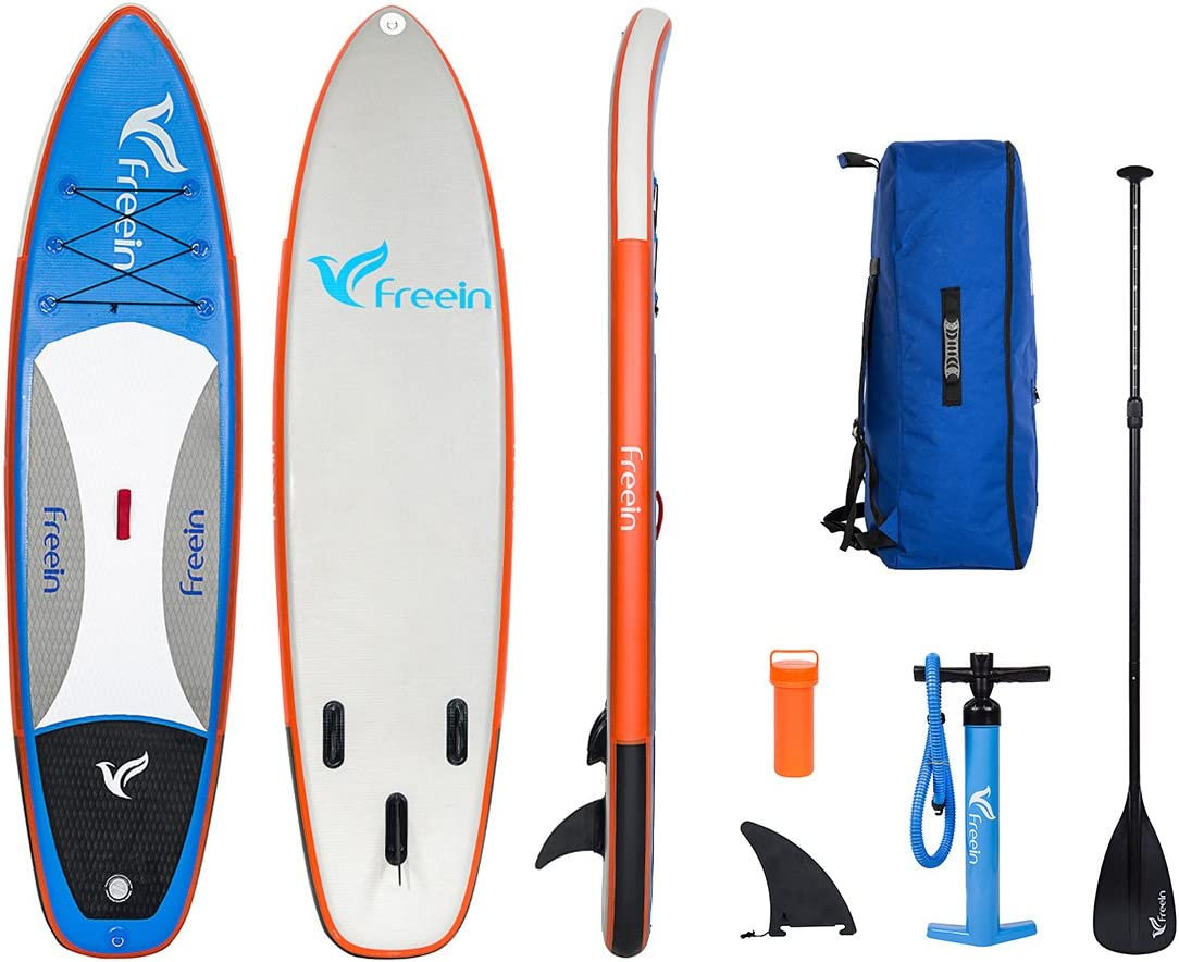 Freein Inflatable Stand Up Paddle Board, SUP Board of 10 8 Long 32 Wide 6 Thick with Aluminum Paddle, Removable Fin, Hand Pump, Leash, Blue Package