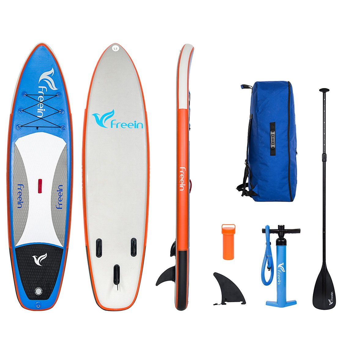 Freein Inflatable Stand Up Paddle Board, SUP Board of 10'8'' Long 32'' Wide 6'' Thick with Aluminum Paddle, Removable Fin, Hand Pump, Leash, Blue Package by Freein