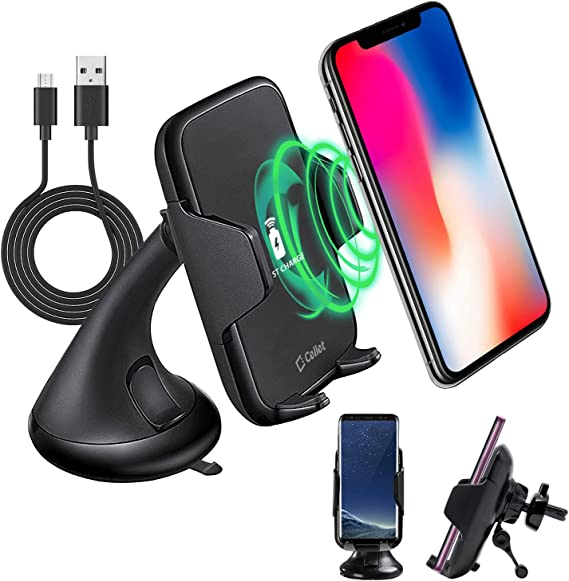 10Watt 4351568326 Cellet 2-in-1 Wireless Charger Phone Holder Mount with Automatic Release and Lock Cradle for Air Vent and Dashboard Compatible for iPhone Xs//Xs Max//Xr//X//8//7// Samsung Note 9//8//5 Galaxy S9//S8//